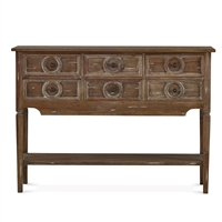 wood console table brown whitewash six drawers lower shelf two tier
