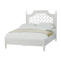 lightly distressed white latticework queen headboard bed frame