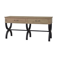 serving table driftwood finish iron base drawers