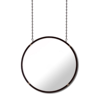 large round wall mirror chains rust black finish beveled
