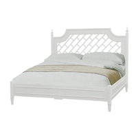 lightly distressed white latticework king headboard bed frame