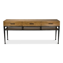 3-drawer console table shelf heather gray finish veneer iron frame