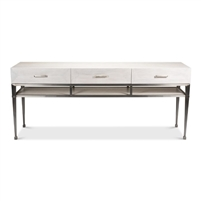 3-drawer console table shelf whitewash white finish veneer iron frame