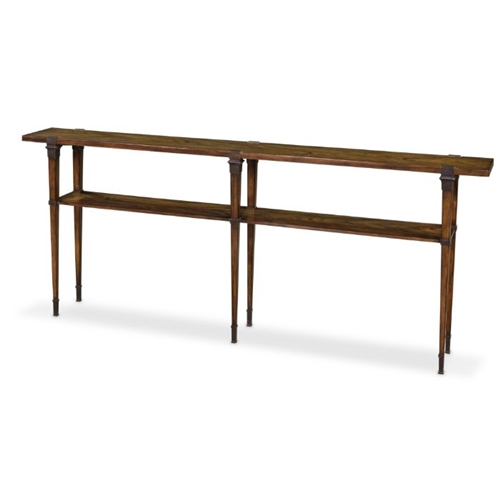 Sarreid, Ltd. console table wood veneer walnut bronze six legs narrow long shelf