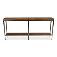 console table shelf textured iron inlays