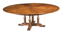 Sarreid, Ltd. round dining table adjustable expandable hidden leaves walnut wood brown stained turned legs