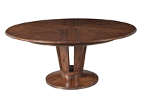Sarreid, Ltd. round dining table adjustable expandable hidden leaves wood brown contemporary metal