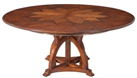 Sarreid, Ltd. dining table round expandable adjustable wood oak walnut veneer star hidden stored leaves