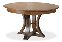 round Jupe dining table medium concave legs textured iron accents contemporary