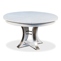 round Jupe dining table medium white finish contemporary transitional expandable