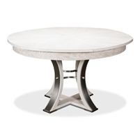 round Jupe dining table expandable contemporary whitewash finish