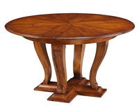 Sarreid, Ltd. round dining table expandable adjustable brown stained walnut finish traditional
