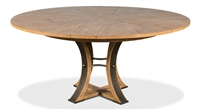 Sarreid, Ltd. round wood gray oak metal dining table adjustable expandable stored leaves transitional