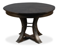 round wood dining table dark gray hammered metal expandable