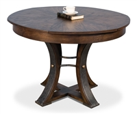 expandable round dining table arched legs hammered metal