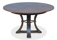 round wood dining table brown hammered metal expandable