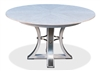 round wood dining table whitewashed hammered metal expandable