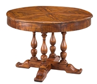 Sarreid, Ltd. round wood dining table stained walnut hidden leaves expandable adjustable turned legs seats 4-6
