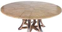 Sarreid, Ltd. round dining table adjustable expandable stored leaves transitional 6-leg concave metal strip