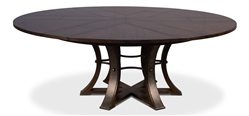 Jupe table round expandable stored leaves oak wire brushed dark finish large 6-leg transitional rustic metal textured iron