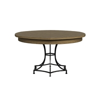 round wood dining table heather gray tan hammered metal expandable