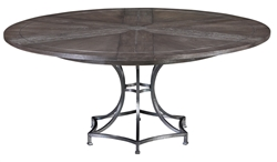 Jupe table round expandable stored leaves oak textured iron metal inlays dark finish transitional