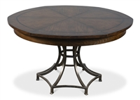 round wood dining table dark brown hammered metal expandable