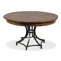 round Jupe dining table medium brown light mink finish contemporary transitional expandable