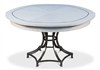 round wood dining table white metal inlays expandable