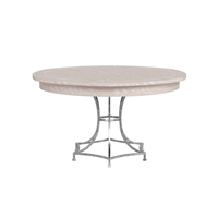 round Jupe dining table medium concave iron base whitewash