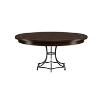 round dining table Jupe burnt brown oak iron base
