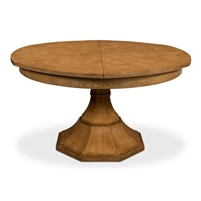 round Jupe dining table medium brown heather grey finish contemporary transitional expandable
