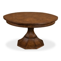 round Jupe dining table transitional medium brown finish expandable