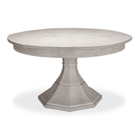 round Jupe dining table medium concave pedestal base whitewash