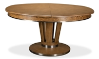 round Jupe dining table large pedestal base heather gray contemporary