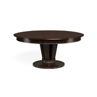 round wood dining table dark brown metal bands pedestal base contemporary