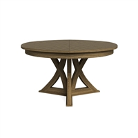 round Jupe dining table medium pedestal base heather gray contemporary