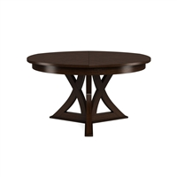 round expandable dining table burnt brown oak medium