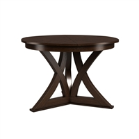 round Jupe dining table small dark brown finish contemporary transitional