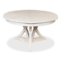 round Jupe dining table small whitewash finish contemporary transitional