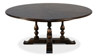 Sarreid, Ltd. round wood walnut dark stain dining table expandable adjustable hidden stored leaves traditional
