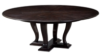 Sarreid, Ltd. round dining table oak wood dark stain expandable adjustable transitional hidden stored leaves
