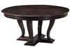 Sarreid, Ltd. round wood oak dark stained transitional dining table adjustable expandable hidden stored leaves