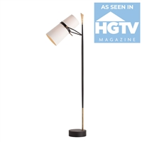 floor lamp iron black antique brass off-white linen shade contemporary