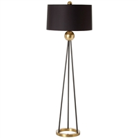 floor lamp matte black steel brass drum shade 3-way switch tripod contemporary
