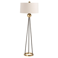 floor lamp matte black steel brass drum shade ivory 3-way switch tripod contemporary