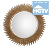 round beveled mirror metal tubes antiqued gold