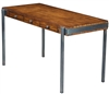 desk wood metal steel gray 3 drawers writing