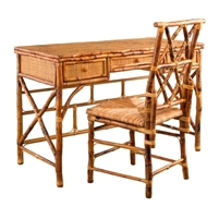 Tortoise Finished Rattan Desk and Chair Set