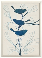 blue birds branch framed wall art